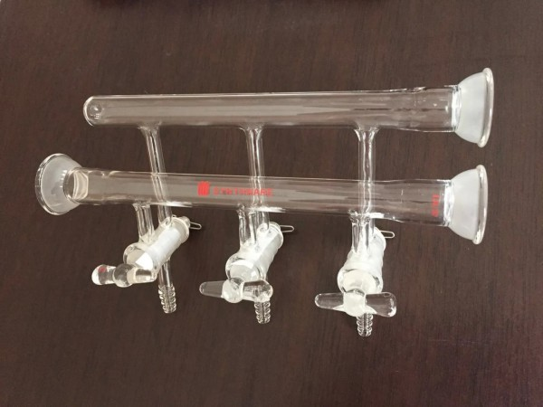 Manifold M27, solid glass stopcocks, double, spherical joint