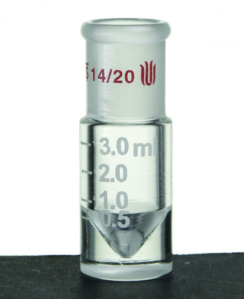 Microscale, conical reaction vial, 14/23, graduated
