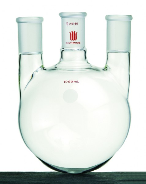 Flask, 3-neck, round bottom, vertical