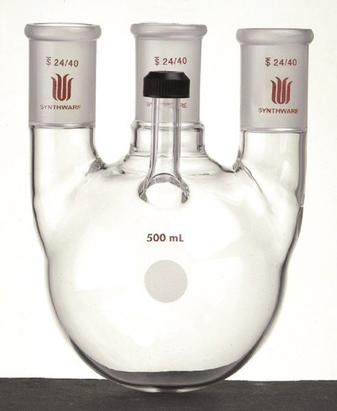 Flask* F71, 3-neck, round bottom, vertical, threaded inlet