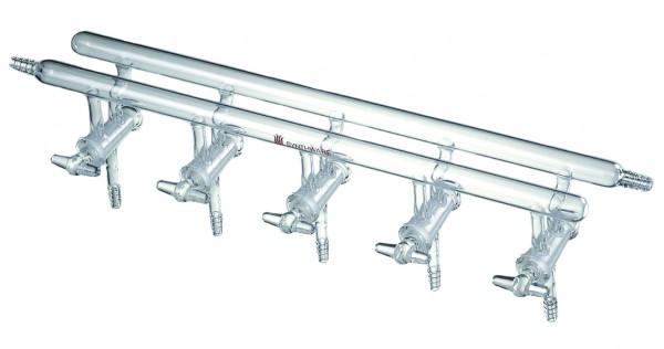 Verteilerrechen, Vakuum/inerte Gase, hohle Glashähne, M18